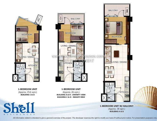 Shell residences condos for sale in mall of asia complex for 1 bedroom condo floor plans